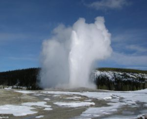 West Yellowstone Old Faithful in winter